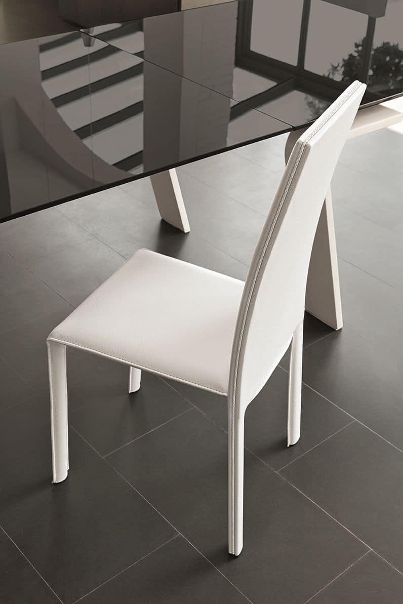 Sedia rivestita in pelle ideale per ristoranti idfdesign for Sedia design srl