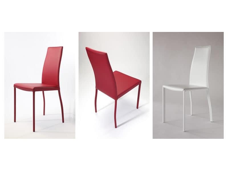 Sedia in pelle e base in tubo verniciato per soggiorno for Sedie per soggiorno moderno