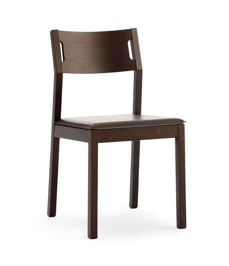 Moijto, Sedia in legno senza braccioli, seduta in cuoio