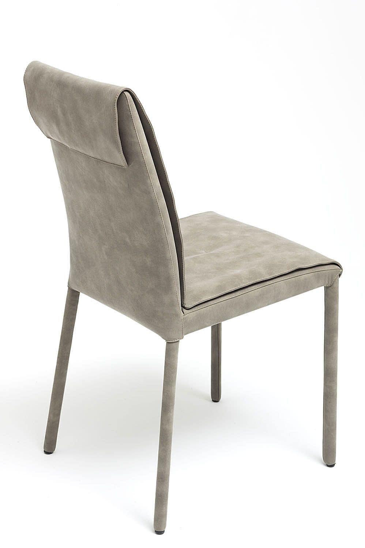 Nancy, sedia con rivestimento in nabuk, disponibile in varie colorazioni e due altezze