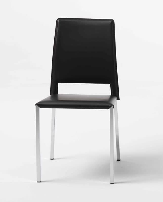 Sedia in metallo cromato copertura in cuoio idfdesign for Sedie moderne pelle