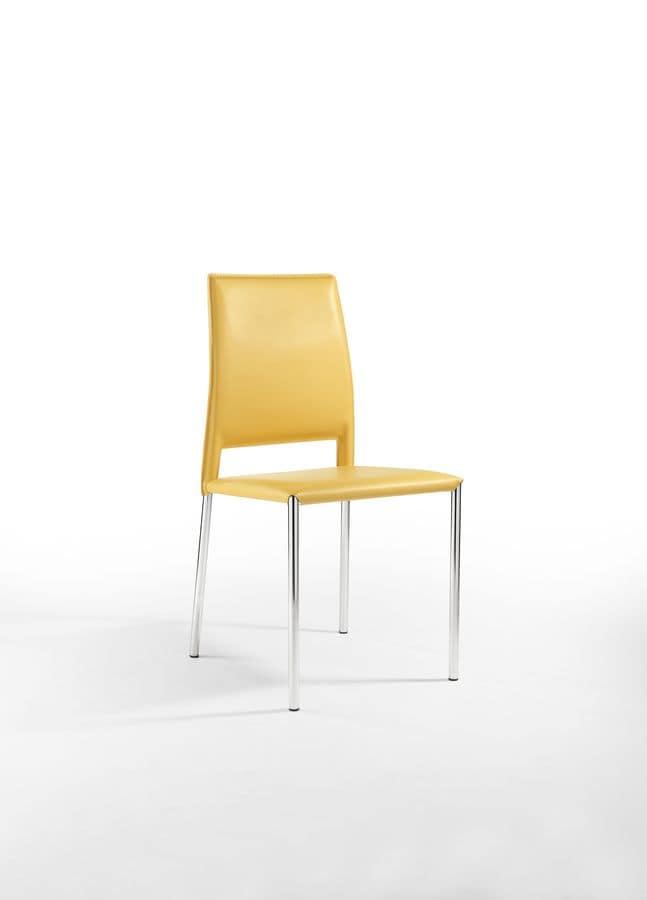 Sedia in metallo con rivestimento in cuoio per cucina for Pelle per rivestimento sedie