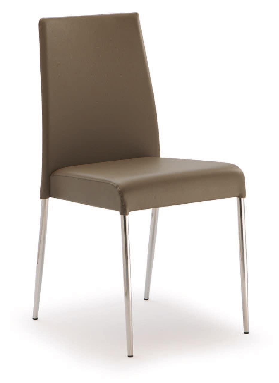 Sedia in acciaio rivestita in eco pelle per uso contract for Pelle per rivestimento sedie