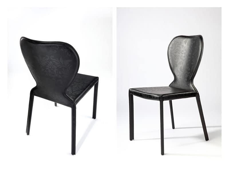 Sedia da pranzo imbottita in pelle per sala colazione for Pelle per rivestimento sedie