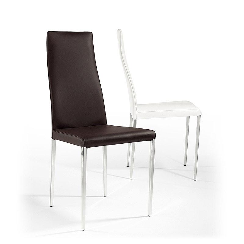 Sedia moderna in pelle gambe coniche per bar e for Pelle per rivestimento sedie