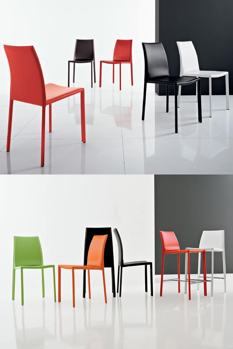 Sedia moderna pelle sala attesa idfdesign for Sedie design roma