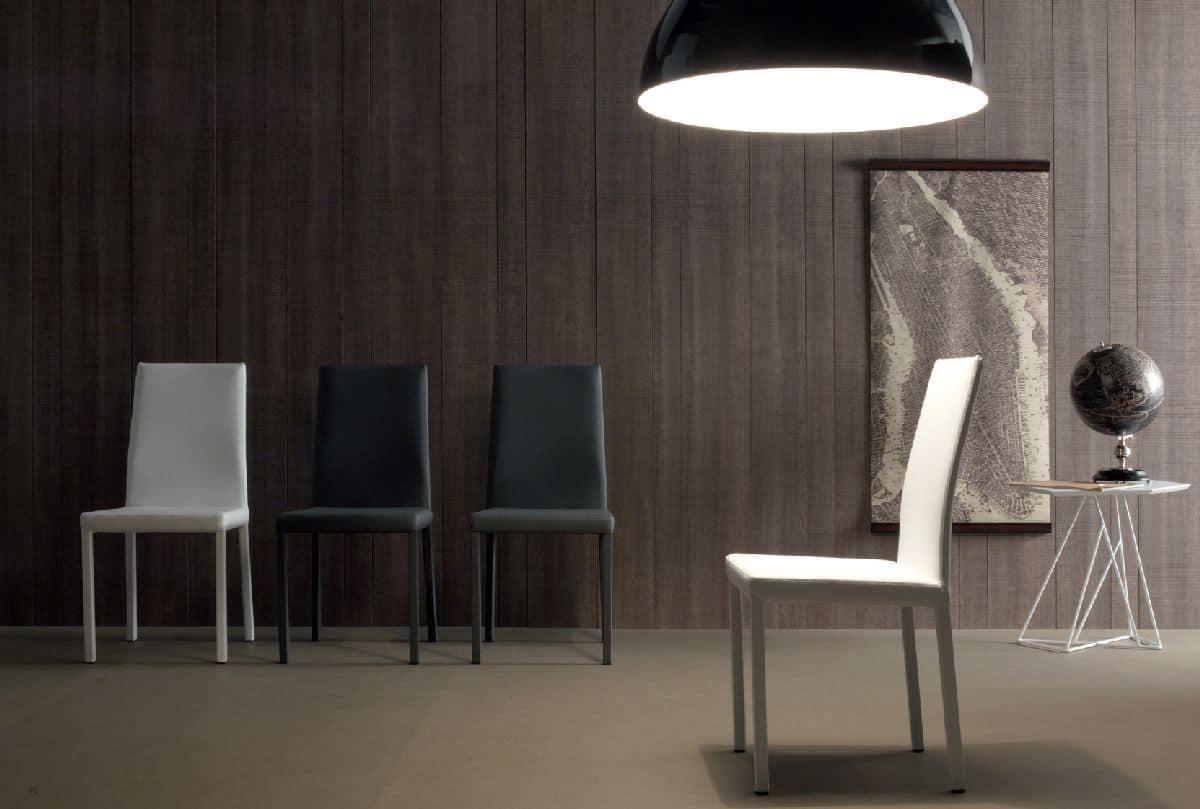 Sedia moderna rivestita in eco pelle di diversi colori for Sedie di pelle design