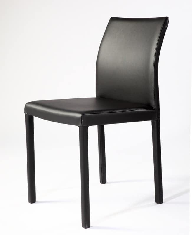 Sedia con base in tubo quadro di acciaio per sala d for Sedie moderne rosse