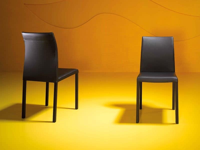 Sedia con base in tubo quadro di acciaio per sala d for Sedie particolari