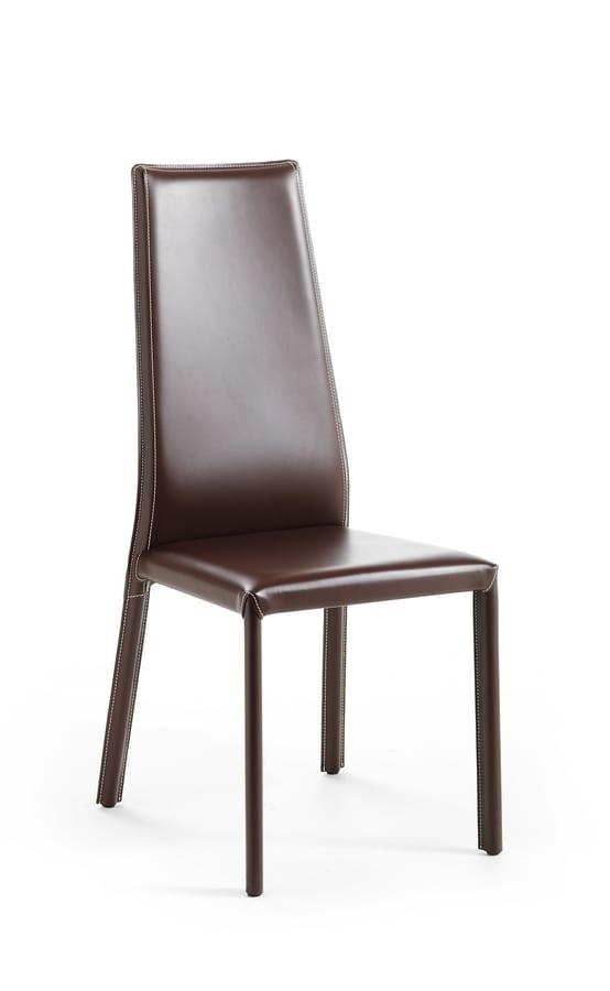 Sedia in cuoio, schienale alto, ideale per sala da pranzo | IDFdesign