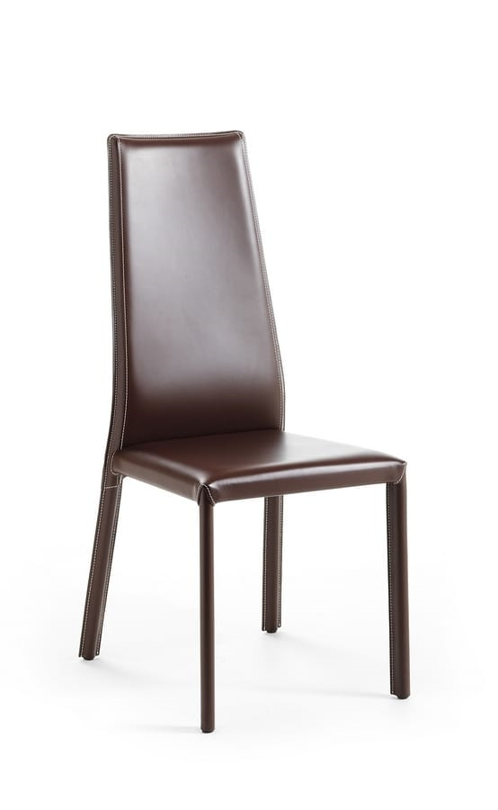 Sedie In Pelle Per Sala Da Pranzo.Sedia In Cuoio Schienale Alto Ideale Per Sala Da Pranzo