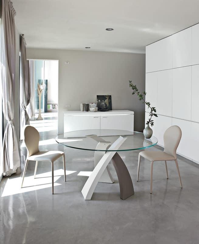 Round sedie pranzo metallo pelle ristorante idfdesign for Sedie design metallo