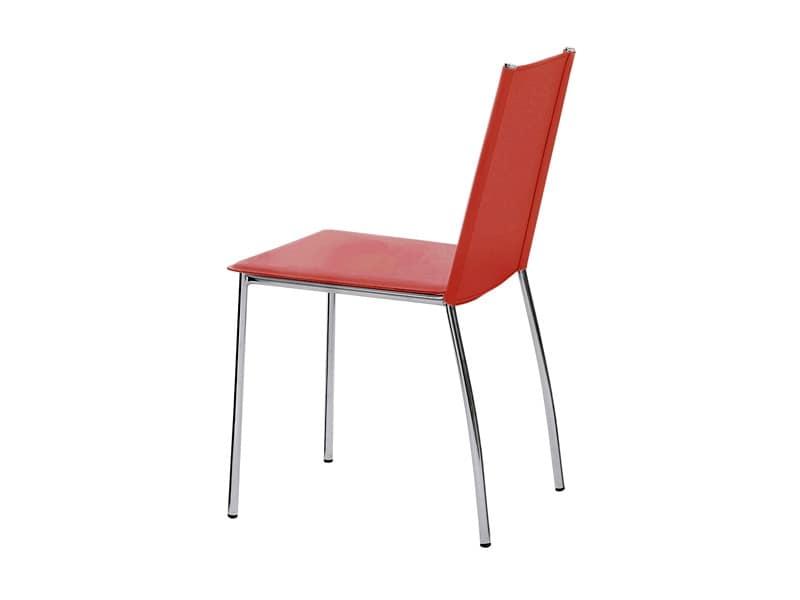 Sedia con base in acciaio cromato rivestita in pelle for Sedie design in pelle
