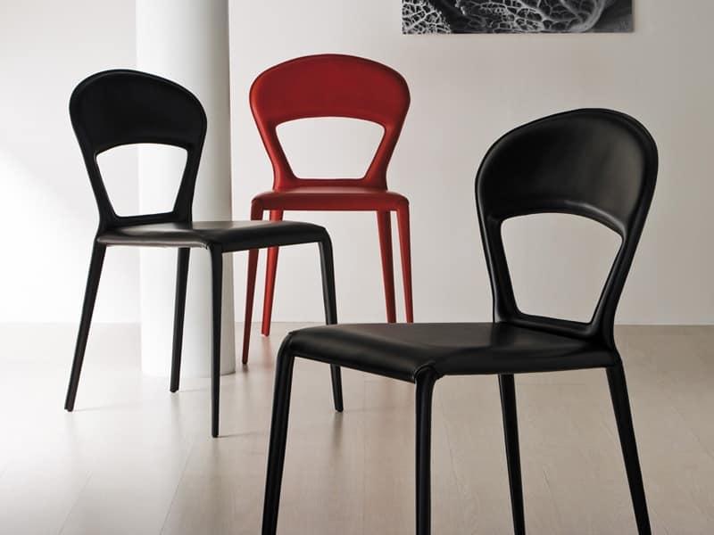 Sedia rivestita in pelle vari colori per sala riunioni for Sedie per sala da pranzo in pelle