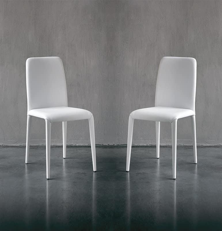 Sedia da pranzo moderna in pelle in vari colori per for Pelle per rivestimento sedie