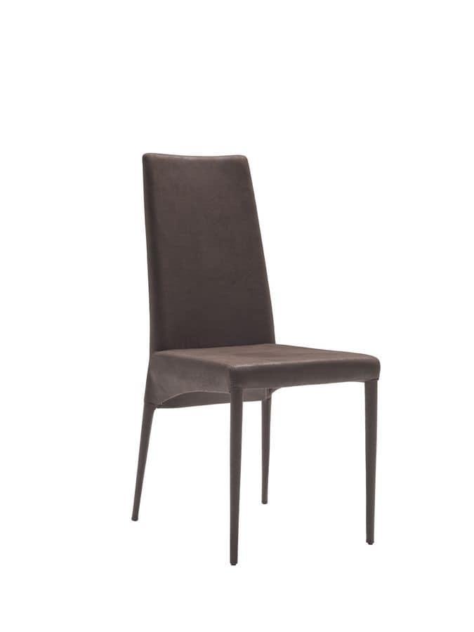 Sedia Moderna Rivestita In Ecopelle Per Sala Da Pranzo