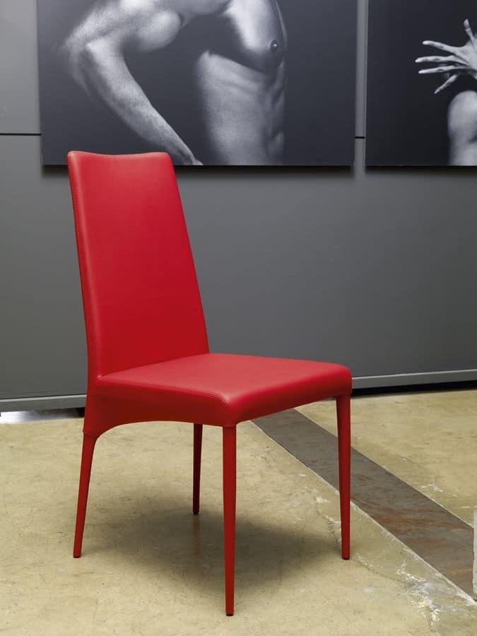Sedia moderna rivestita in ecopelle per sala da pranzo for Sedie in pelle per sala da pranzo