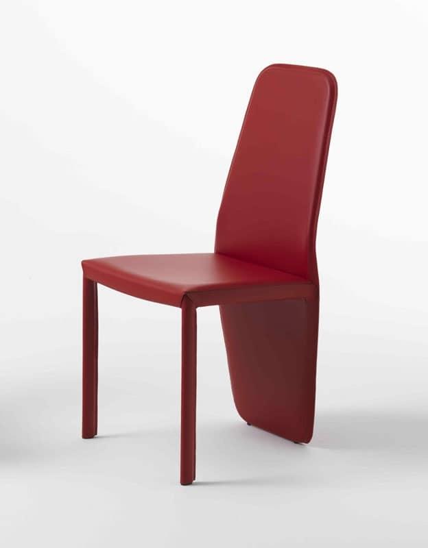 Sedia con schienale basso in pelle varie colorazioni for Sedie design in pelle