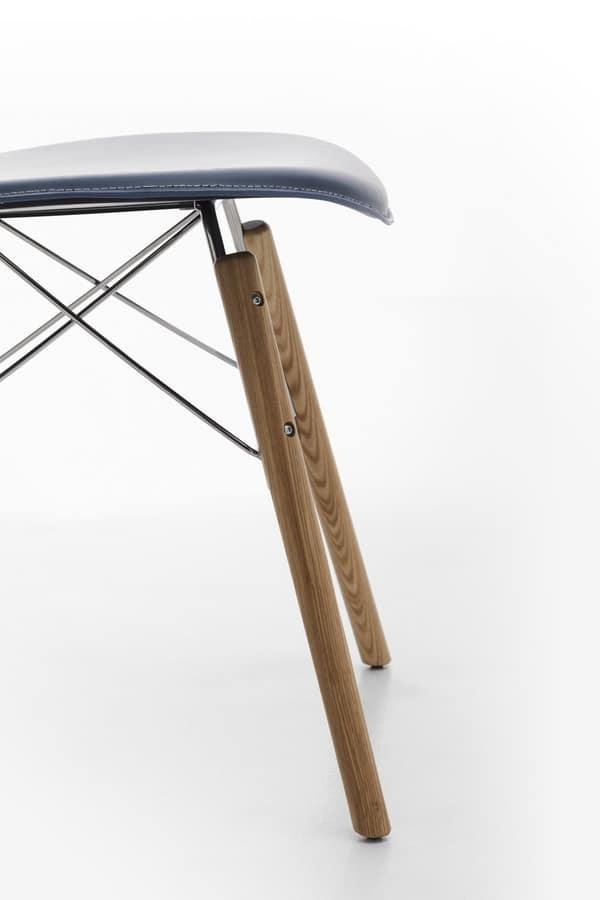 Wendy wood, Sedia in cuoio, acciaio e legno, per uso domestico