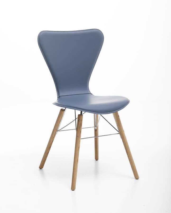 Sedia in cuoio, acciaio e legno, per uso domestico | IDFdesign