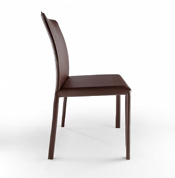 XL, Sedia in metallo, rivestimento in cuoio, per bar e cucine