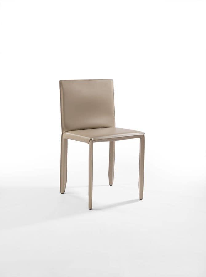 Sedia in acciaio e pelle per bar e cucina idfdesign for Pelle per rivestimento sedie