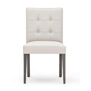 Zenith 01619, Sedia in legno massicio, seduta e schienale imbottiti, schienale capitonn�, rivestita in pelle, per sale da pranzo