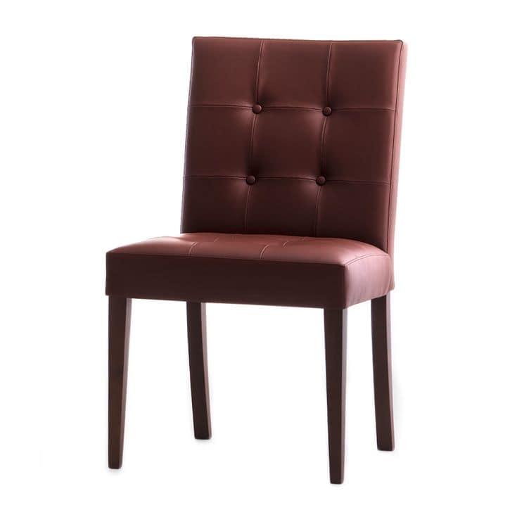 Zenith 01619X, Sedia in legno massicio, seduta e schienale imbottiti capitonnè, rivestita in pelle, per sale da pranzo