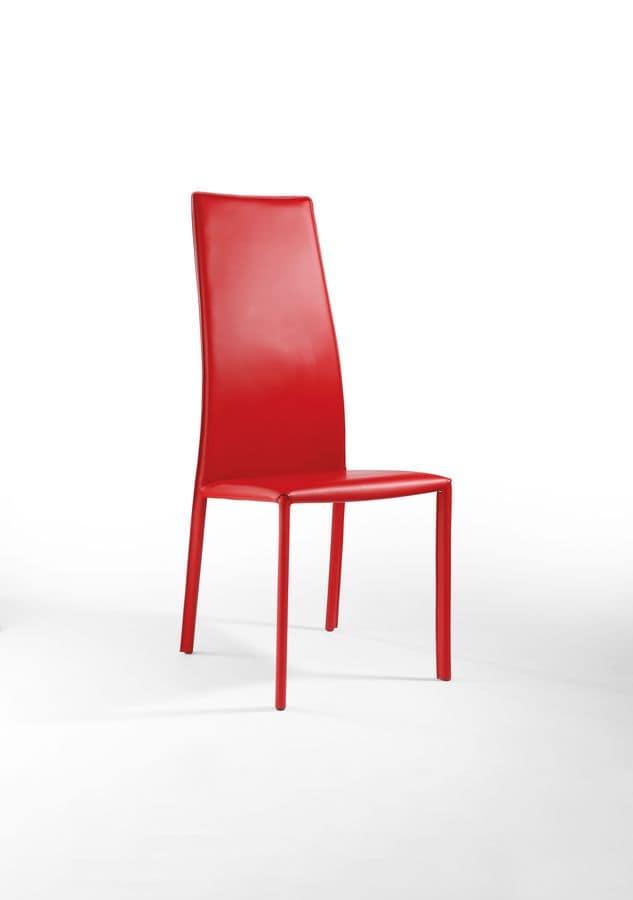 Sedia da pranzo con schienale alto rivestimento in pelle for Sedie design in pelle