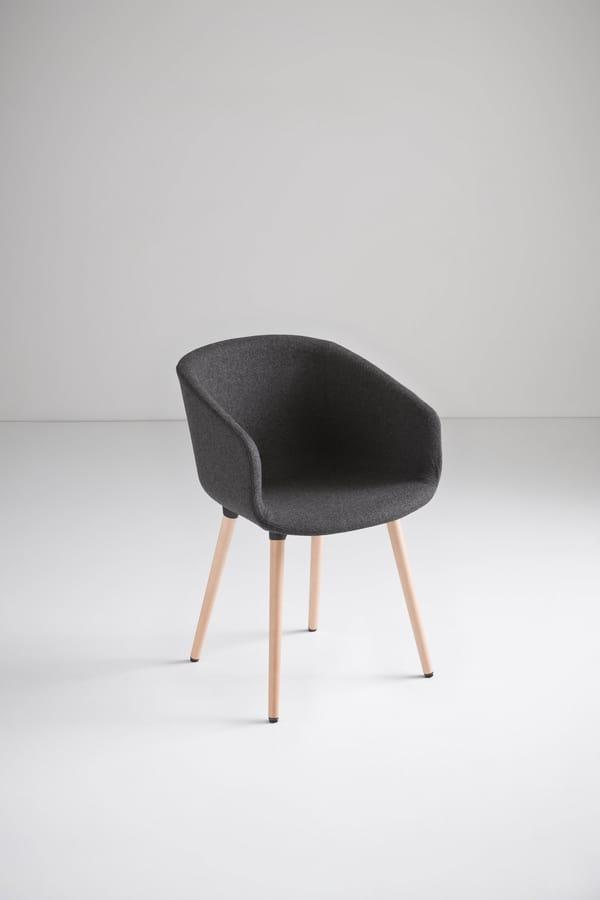 Basket Chair BL, Sedia con gambe in legno di faggio, scocca in polimero