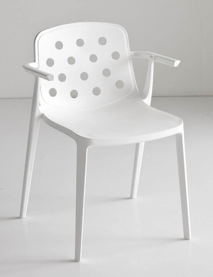 Sedia impilabile con braccioli robusta e resistente for Sedie con braccioli