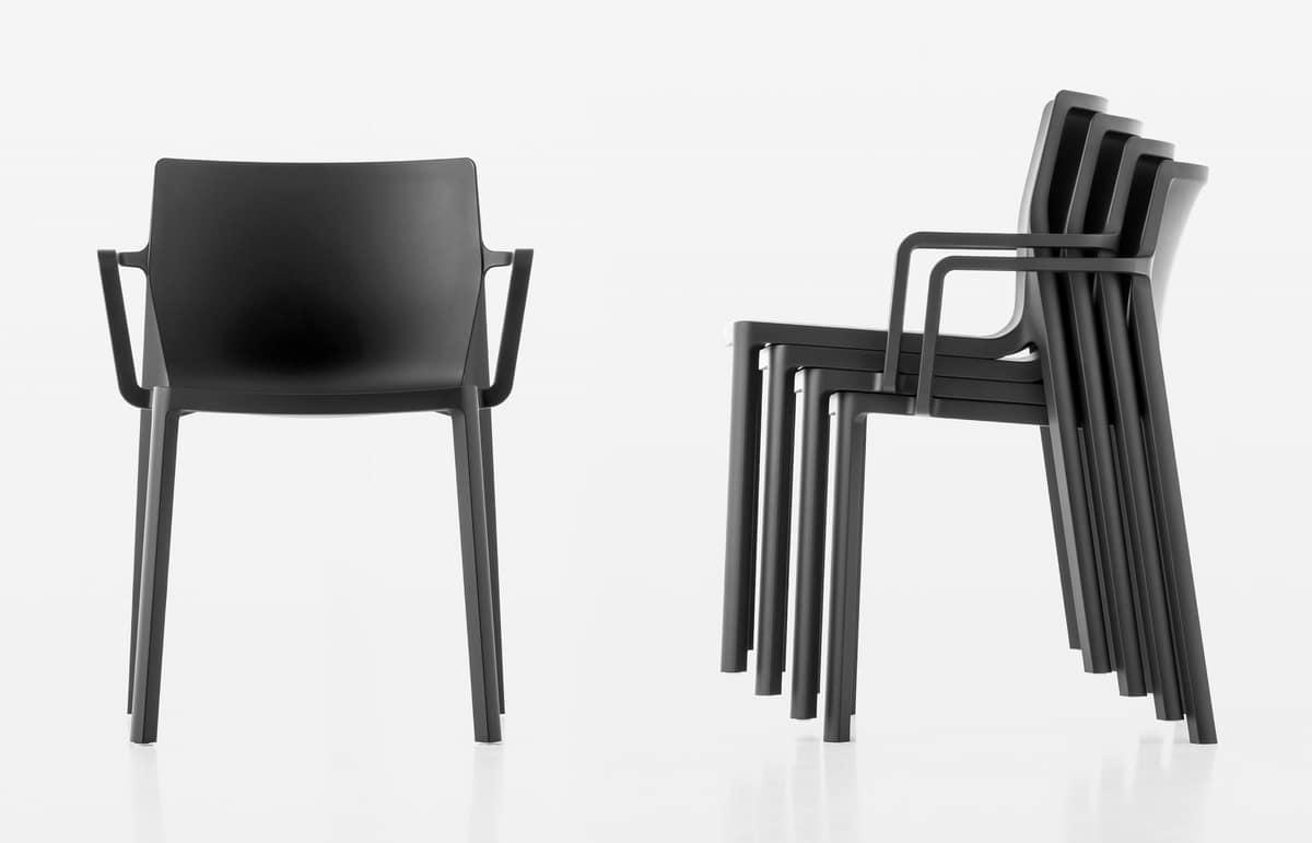 Sedie Con Braccioli Design.Sedia Design In Fibra Di Vetro E Polipropilene Con Braccioli