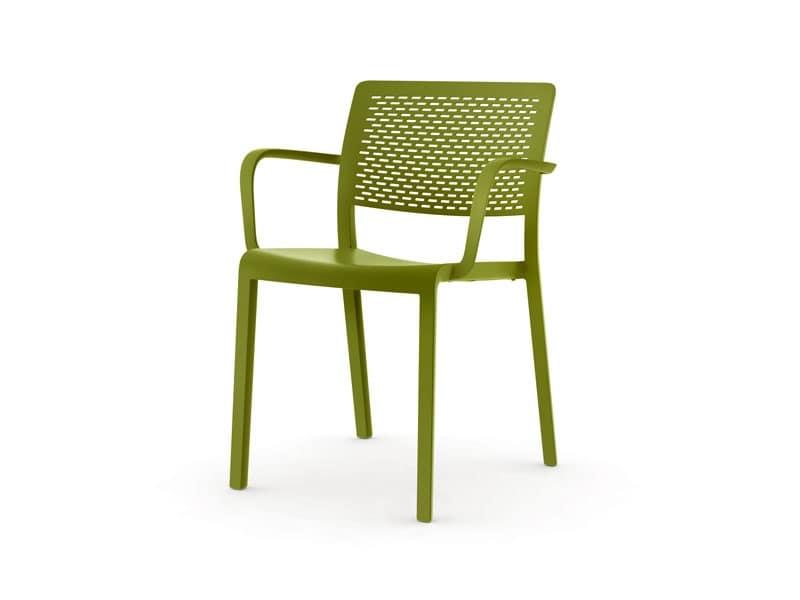 Sedia impilabile in plastica resistente alle intemperie idfdesign - Sedie plastica design ...