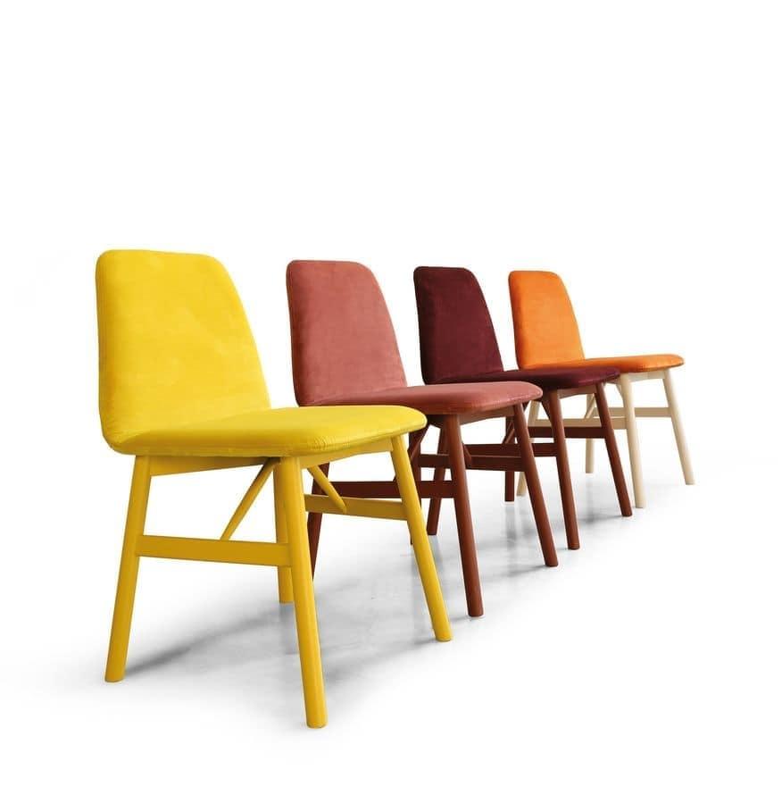 Sedia in legno imbottita dal design morbido idfdesign for Sedie design legno naturale