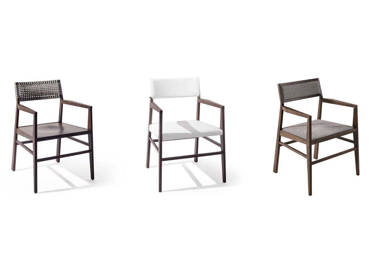 Sedia con braccioli dal design semplice personalizzabile for Sedia antica con braccioli