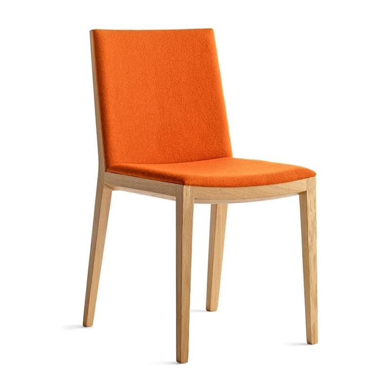 Sedia design da pranzo seduta e schienale imbottiti for Sedie acciaio e legno