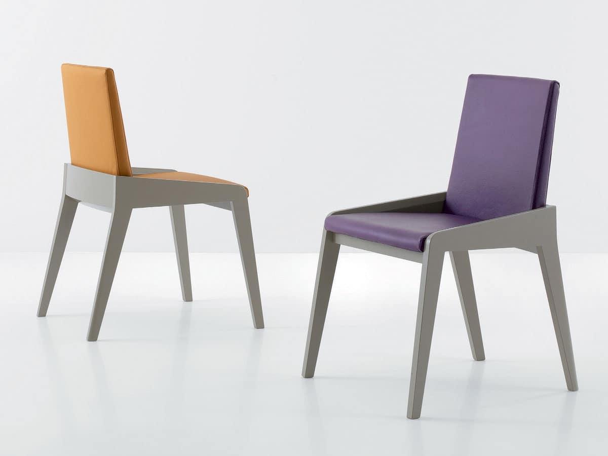 Sedia elegante, Sedie moderne legno, Sedia legno pelle ...