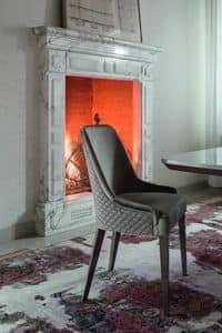 ELYSEE sedia, Sedia moderna imbottita con gambe in legno