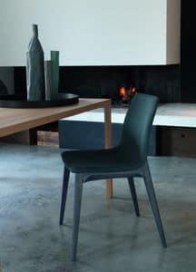 ERGO sedia con base in legno, Sedia moderna imbottita con basamento in legno