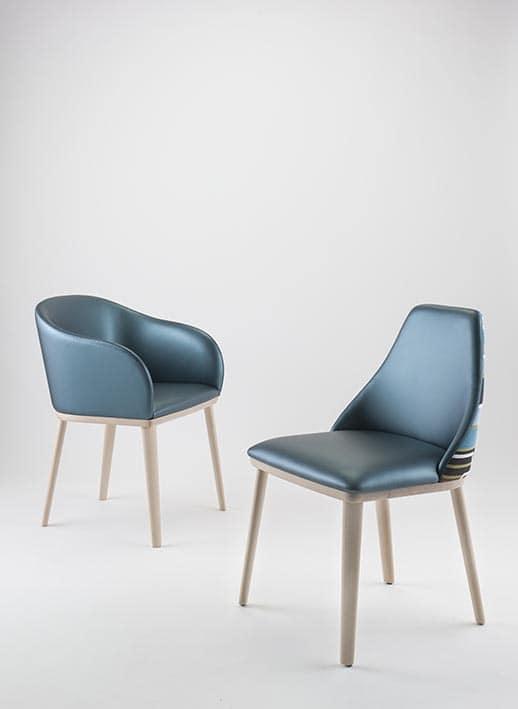Sedia imbottita in faggio massiccio gambe ovali per hotel idfdesign - Sedie design legno ...