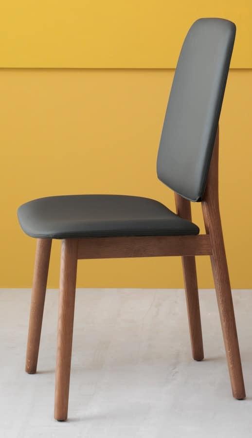 Sedia design, in rovere ed eco pelle, schienale alto | IDFdesign