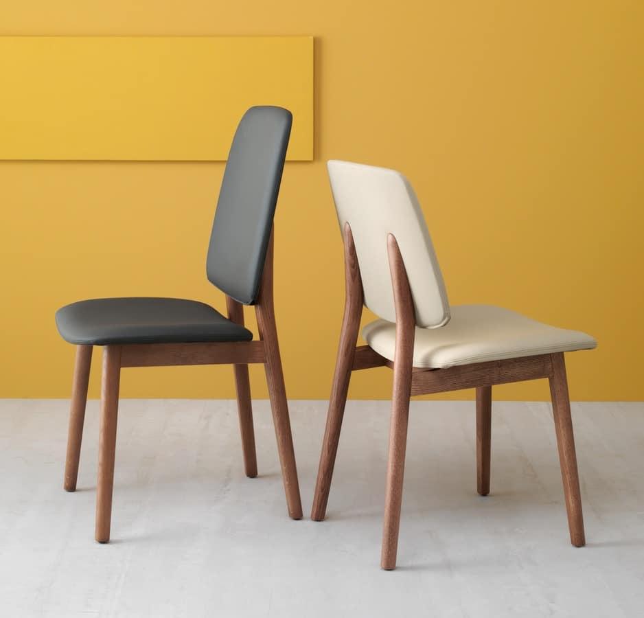 Sedia design in rovere ed eco pelle schienale alto for Sedia design srl
