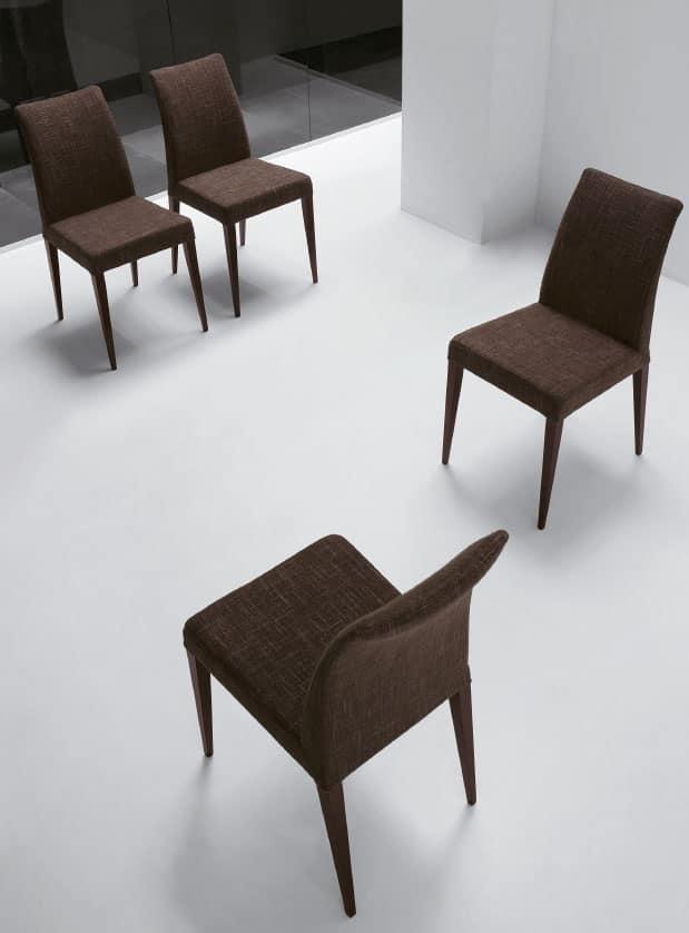 Sedia imbottita con gambe verniciate per casa e alberghi - Sedie imbottite design ...
