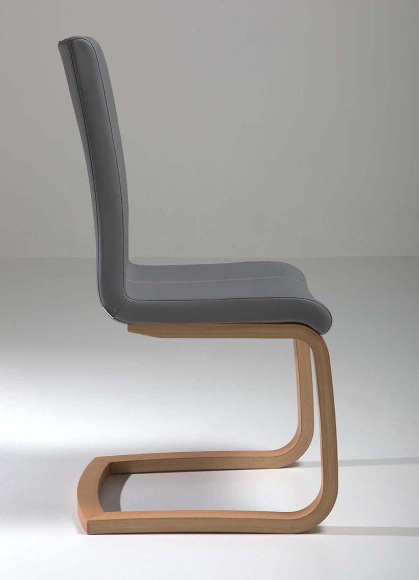 Sedia con base a slitta in legno di faggio per uso for Sedie design legno naturale