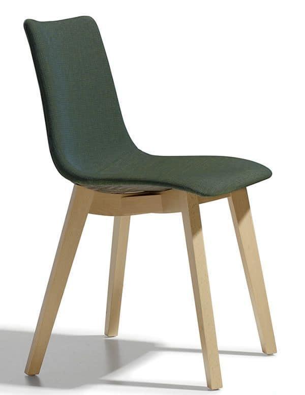 Sedia moderna in legno con seduta imbottita idfdesign for Sedia design amazon