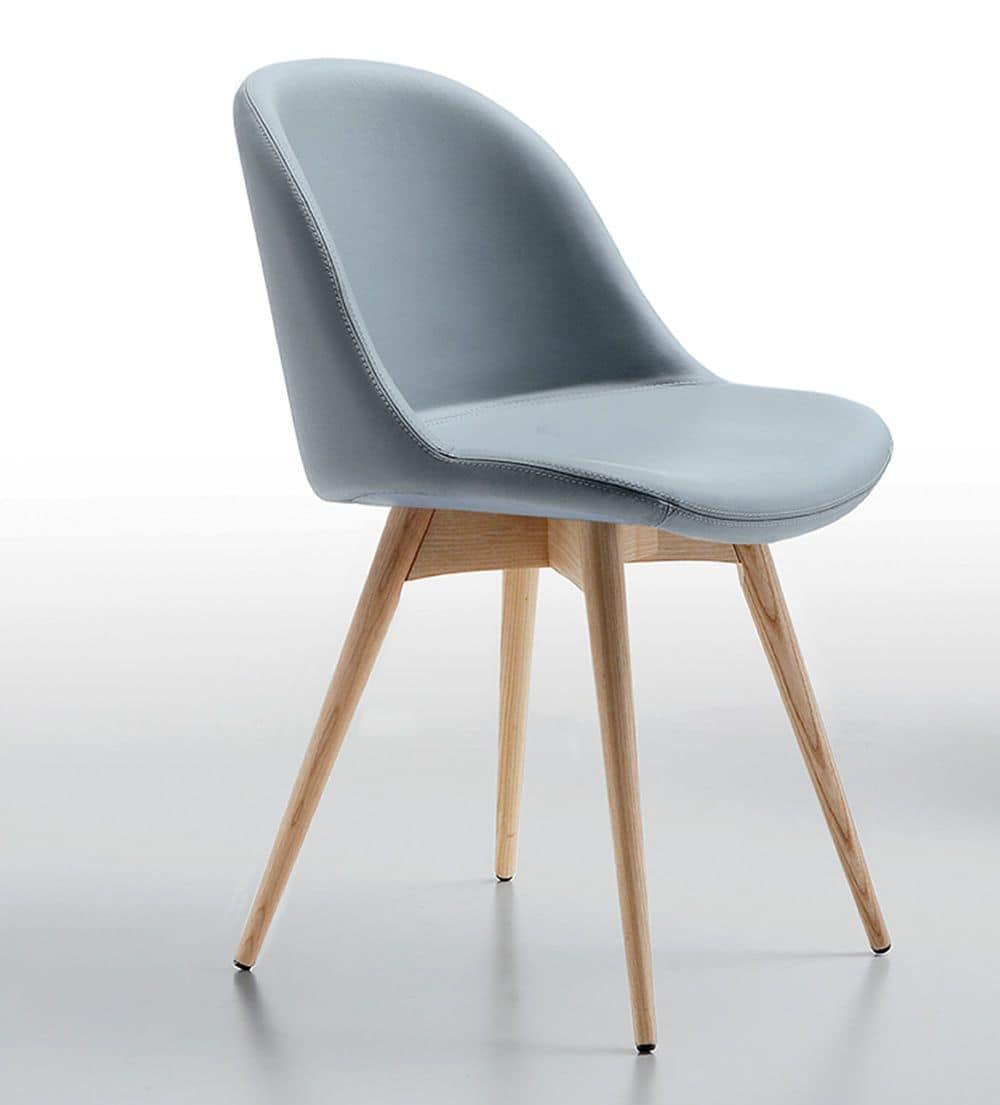 Sedia in legno, seduta rivestita in pelle o tessuto | IDFdesign
