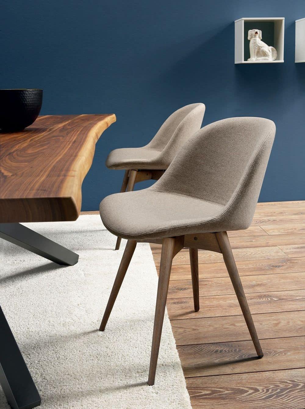Sedia in legno seduta rivestita in pelle o tessuto for Sedie design outlet