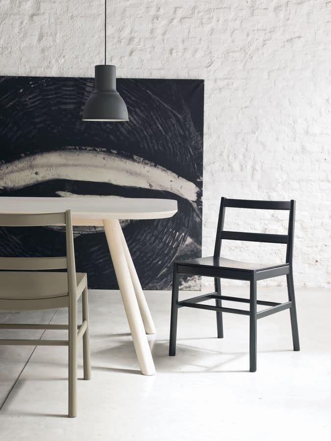 ART. 0020-LE JULIE, Sedia design minimale in legno di faggio