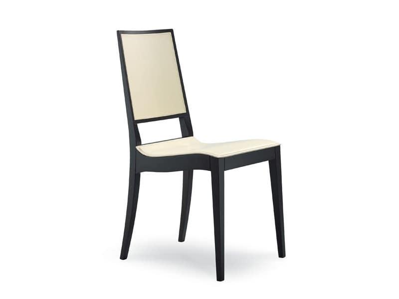 Sedia minimalista in legno e cuoio per bar e ristoranti idfdesign