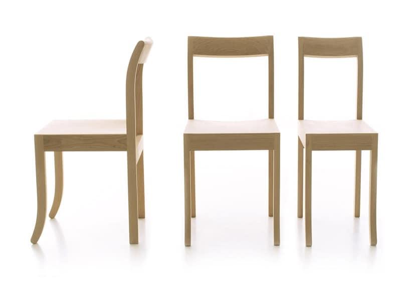 Sedie pranzo lineari struttura in legno per ristoranti e for Sedie design legno naturale
